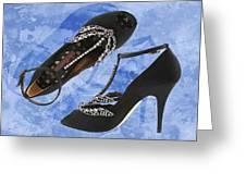 Black Satin And Crystal Dragonfly Pumps Greeting Card