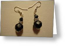 Black Sparkle Drop Earrings Greeting Card by Jenna Green