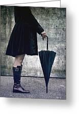 Black Umbrellla Greeting Card by Joana Kruse