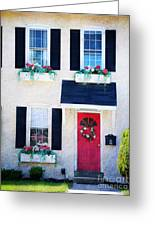 Black Window Shutters With Flowers Greeting Card