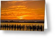 Blazing Humboldt Bay Sunset Greeting Card