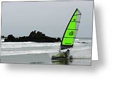 Blokarting In New Zealand Greeting Card