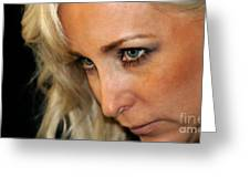Blond Woman Strict Greeting Card