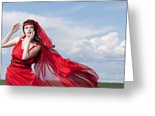 Blown Away Woman In Red Series Greeting Card