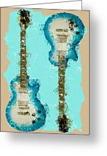 Blue Abstract Guitars Greeting Card