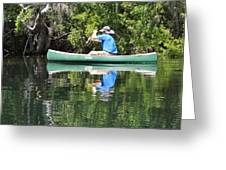 Blue Amongst The Greens - Canoeing On The St. Marks Greeting Card