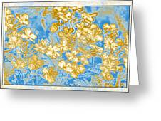 Blue And Gold Floral Abstract Greeting Card
