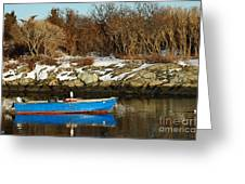 Blue And Red Boat Greeting Card