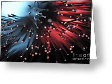 Blue And Red Light From Fiber Optic Greeting Card