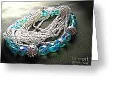 Blue And Silver Bead Bracelet Greeting Card
