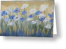 Blue And White Flora Greeting Card