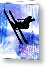 Blue And White Splashes With Ski Jump Greeting Card