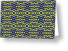 Blue And Yellow Chevron Pattern Greeting Card