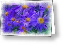 Blue Asters - Watercolor Greeting Card