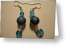 Blue Ball Sparkle Earrings Greeting Card