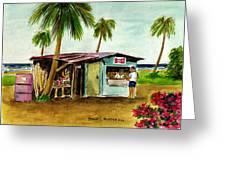 Blue Beach Shack Los Pinones Puerto Rico Greeting Card