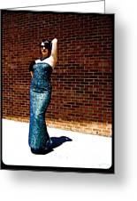 Blue Beaded Dress Greeting Card