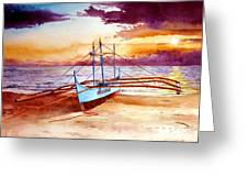 Blue Boat On The Shore Greeting Card