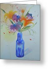 Blue Bottle Bouquet Greeting Card
