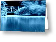 Blue Bridge Greeting Card by Maria Scarfone