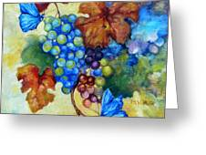 Blue Butterflies And Grapevine  Greeting Card
