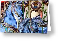 Blue Carousel Merry Go Round Horses Greeting Card