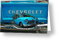 Blue Chevy Pickup Dbl. Exposure Greeting Card