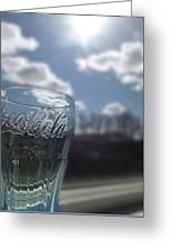 Blue Coca Cola Glass 3 Greeting Card