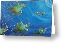 Blue Crab Run Greeting Card