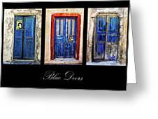 Blue Doors Of Santorini Greeting Card by Meirion Matthias
