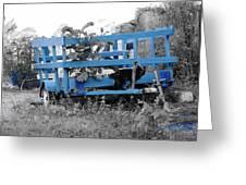 Blue Farm Wagon Greeting Card