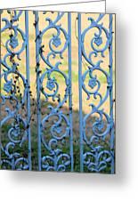 Blue Gate Swirls Greeting Card