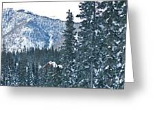 Blue Green Mountain Greeting Card