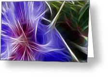 Blue Hibiscus Fractal Panel 1 Greeting Card by Peter Piatt