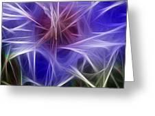 Blue Hibiscus Fractal Panel 2 Greeting Card by Peter Piatt