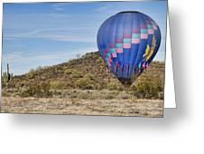 Blue Hot Air Balloon On The Desert  Greeting Card