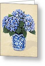 Blue Hydrangeas In A Pot On Parchment Paper Greeting Card