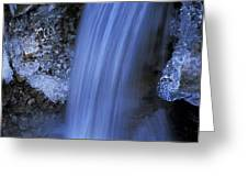 Blue Icy Waterfall Greeting Card