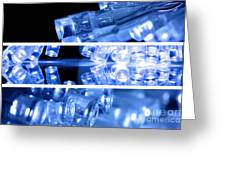 Blue Led Lights In Three Strips Greeting Card