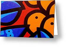 Blue Lobster And Oranges Greeting Card