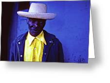 Blue Man With Yellow Hat And Shirt Greeting Card