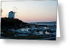 Blue Marina Paros Greeting Card