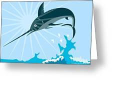 Blue Marlin Fish Jumping Retro Greeting Card