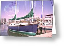 Blue Moon Harbor II Greeting Card by Betsy Knapp