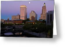 Blue Moon Over Downtown Providence 2 Greeting Card
