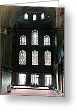 Blue Mosque Prayers Greeting Card by Leslie Leda