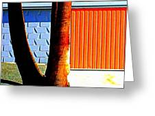 Blue Orange And Palms Greeting Card