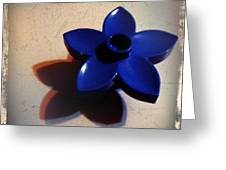 Blue Plastic Flower Greeting Card