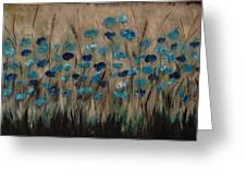 Blue Poppies And Gold Wheat Greeting Card