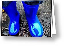 Blue Rain Boots Greeting Card